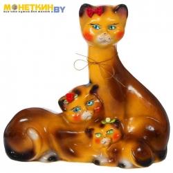 Копилка «Семья котов» малая глянец коричневый