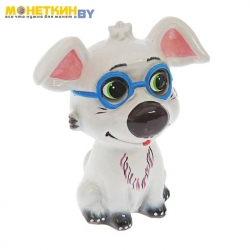 Копилка « Собака Рексик» глянец белый новый