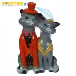 Копилка «Коты венчальные» большая глянец серый