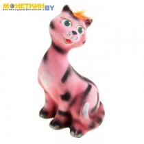 Копилка «Кошка молодая», цвет розовый – полосатый