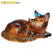 Копилка «Кошка мейн – кун мама» глянец коричневый