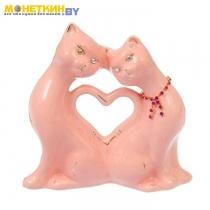 Копилка «Коты сердце» малая глазурь розовая цепочка