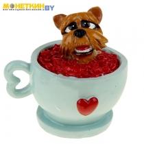 Копилка «Собачка в чашке с сердечками»