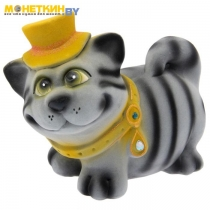 Копилка «Кот бегемот в шляпке « серый