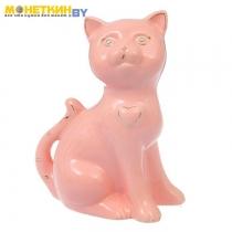 Копилка «Кошка Василиса» большая глазурь розовая веревка