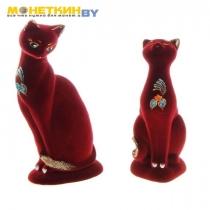 Копилка «Кошки парочка» бордовый