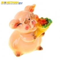 Копилка «Свинка с букетом»