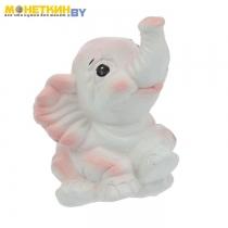 Копилка «Слоненок» сидя хоббот вверх розовый