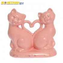 Копилка «Коты сердце новые» глазурь розовая