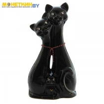 Копилка «Коты семья» глянец черная