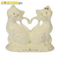 Копилка «Коты сердце» глазурь белая
