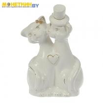 Копилка «Коты Жених и Невеста» глазурь белая