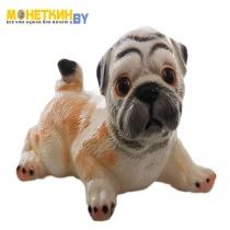 Копилка «Собака Мопс» бело – бежевый глянец