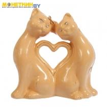Копилка «Коты сердце» большая глазурь кремовая
