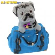 Копилка «Собака в сумке» серый сумка