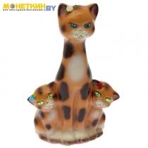 Копилка «Кошка с котятами» глянец бежевый леопард