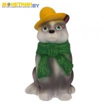 Копилка «Кот в шарфе» серый