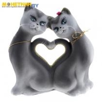 Копилка «Кошки Сердце» серый