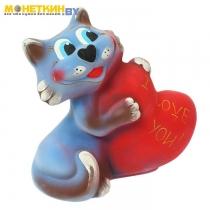 Копилка «Кот с сердцем» васильковый