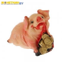Копилка «Свинка с мешком монет»