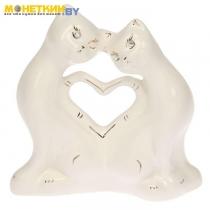 Копилка «Коты сердце « глазурь белая
