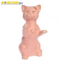 Копилка «Кот попрошайка» глазурь розовая