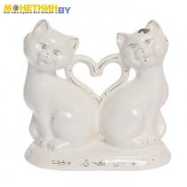 Копилка «Коты сердце новые» глазурь белая