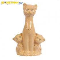 Копилка «Кошка с котятами» глазурь кремовая