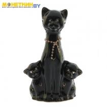 Копилка «Кошка с котятами» глянец черная