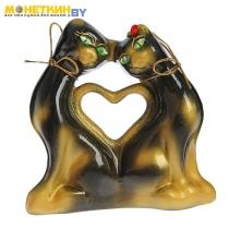 Копилка «Коты сердце» мини глянец черный задувка золото
