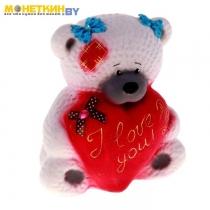 Копилка «Медведица с сердцем» белый