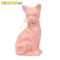 Копилка «Кошка Лиза» большая глазурь розовая