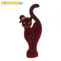 Копилка «Кошка в шляпе» бордовая