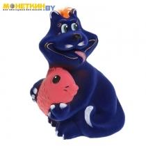 Копилка «Кот с рыбой» васильковый