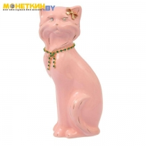 Копилка «Кошка Матильда» малая глазурь розовая цепочка