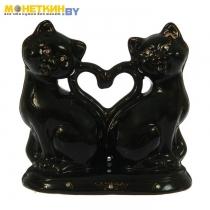 Копилка «Коты сердце новые» большая глазурь черная