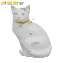 Копилка «Кошка Мурка» сидячая глазурь белая