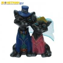 Копилка «Коты жених и невеста» малые глянец черный