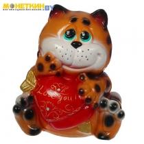 Копилка «Кот с сердцем» глянец коричневый