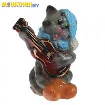 Копилка «Кот с гитарой» глянец серый