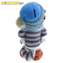 Копилка «Полосатый кот», серая, голубая шапка