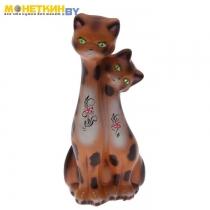 Копилка «Коты близнецы» глянец бежево – леопардовый