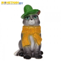 Копилка «Кот в шарфе» глянец серый