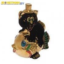 Копилка «Кот на рыбе» черный