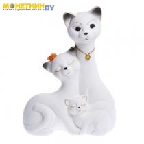 Копилка «Кот Семья» большая белая