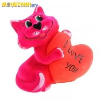 Копилка «Кот с сердцем» розовый