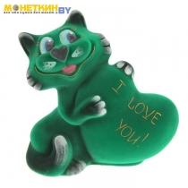 Копилка «Кот с сердцем» зеленый