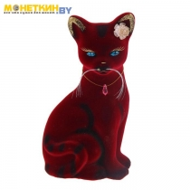 Копилка «Кошка Лиза» бордовая