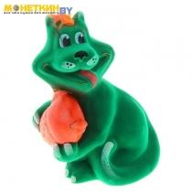 Копилка «Кот с рыбой» зеленый