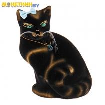 Копилка «Кошка Мурка» сидячая, черная задувка золото
